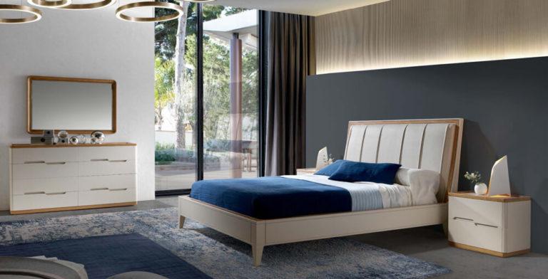 Cama azul decoración dormitorio